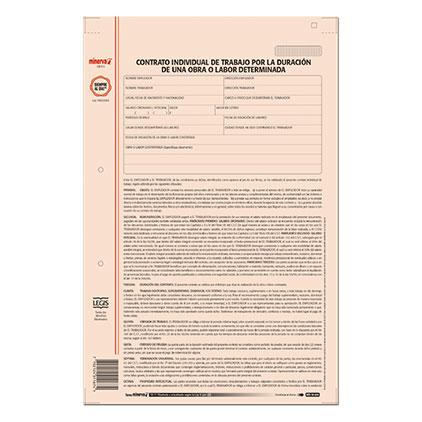 Contrato individual de trabajo por la duracion de una obra for Formato de contrato de trabajo indefinido